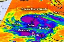 NASA sees heavy rainfall and high thunderstorms in Tropical Storm Ernesto