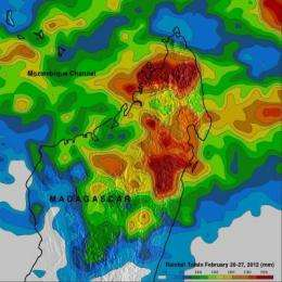 NASA's TRMM satellite measures heavy rainfall in Madagascar from System 92S