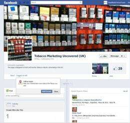 Researchers launch Facebook site to monitor tobacco industry tactics