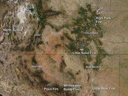 NASA satellite sees several western US fires blazing