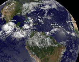 NASA sees tropical cyclones march across Atlantic: Ernesto, Florence, TD7, System 92L
