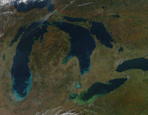 Climate change, algal blooms and 'dead zones' in the Great Lakes