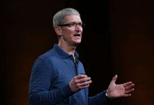 Apple Chief Executive Tim Cook speaks during a special event at the California Theatre in San Jose on October 23, 2012