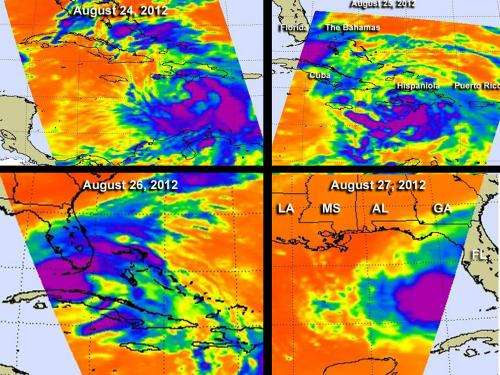 NASA infrared time series of Tropical Storm Isaac shows consolidation