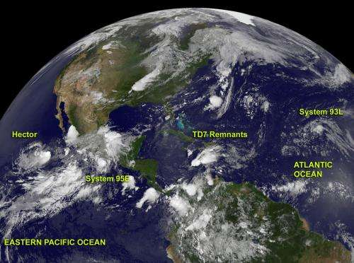 NASA observes a quieter Atlantic to start the week; Hector in east Pacific