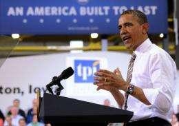 US President Barack Obama speaks after touring TPI Composites, a wind blade manufacturer