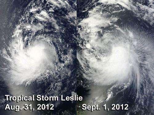 NASA satellites showed little change in Tropical Storm Leslie
