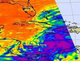 NASA sees Tropical Storm Sandy approaching Jamaica