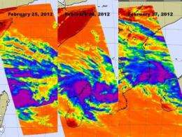 3 days of NASA infrared images show System 92S tropically developing