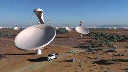 An artist impression of the future Square Kilometre Array (SKA) radio telescope