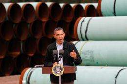U.S. President Barack Obama speaks at the southern site of the Keystone XL pipeline