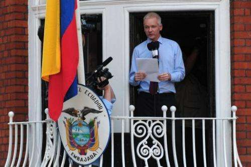 WikiLeaks founder Julian Assange is pictured at the Ecuadoran embassy in London in August where he has sought assylum