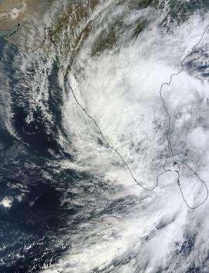 NASA sees Tropical Depression Nilam blanket southern India