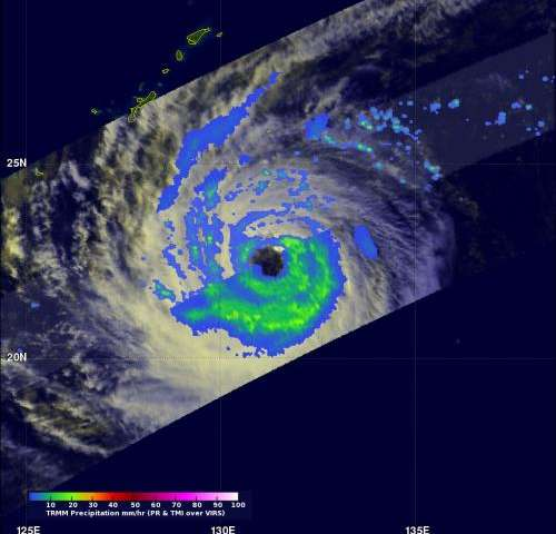 NASA satellite indicates Tropical Storm Prapiroon's rains mostly south of center