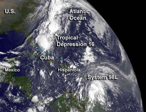 Satellite sees 16th Atlantic tropical depression born near Bahamas