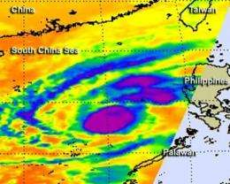 NASA infrared data shows Typhoon Bopha re-strengthened in South China Sea