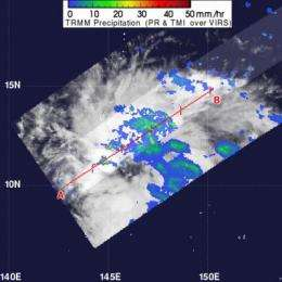 NASA sees Tropical Depression 03W's 'hot tower' on approach to Guam