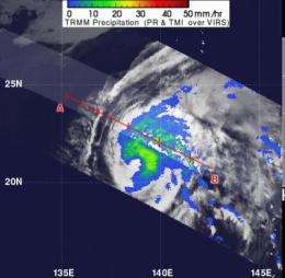 NASA's TRMM satellite sees some heavy rainfall in Typhoon Sanvu