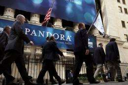 A banner for Pandora Media Inc., the online-radio company, hangs in front of the New York Stock Exchange in 2011