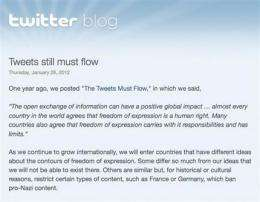 Activists and bloggers fear Twitter censorship (AP)