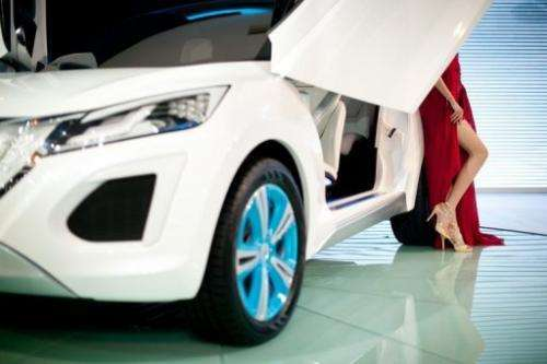A 'Haval E' car by Chinese manufacturer Great Wall Motors is displayed at the Auto China car show in Beijing