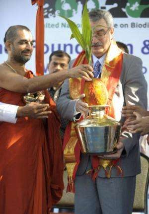 A Hindu religious priest (left) at the launch of the world's first 'Green Kumbh Yatra' for Biodiversity