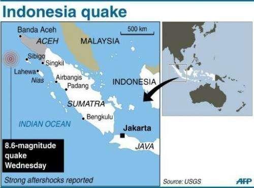 A map of Indonesia's Sumatra locating the 8.6-magnitude quake