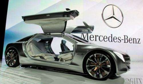 A Mercedes-Benz F125! gullwing coupe research car on display at CES in Las Vegas