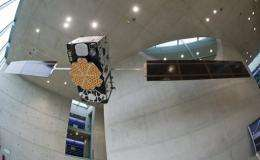 A model of the Galileo satellite hangs at the German Aerospace Center in Oberpfaffenhofen