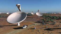 An artist impression released by the SPDO shows dishes of the future Square Kilometre Array radio telescope