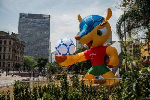 "An inflatable mascot of the FIFA World Cup Brazil 2014, a ""Tatu-bola"" is displayed in Sao Paulo, Brazil, on September 24, 2012"