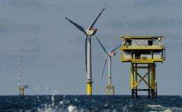 An offshore wind farm is pictured off the northern German Island of Borkum