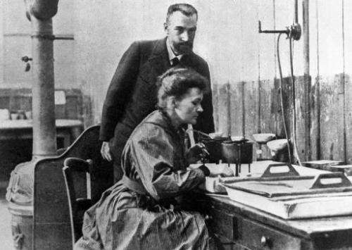 An undated picture showing Marie Curie-Skolodowska with Pierre Curie