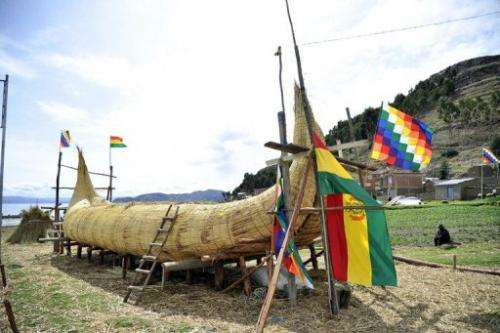 "A reed boat (also known as a ""Thunupa"") is shown on on Suriqui island in Lake Titicaca, Bolivia, on December 2, 2012"