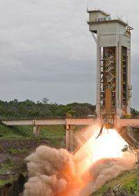 Ariane 5 booster roars into life