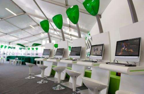 A sponsored area where athletes can use computers and laptops in the London 2012 Olympic Athletes Village