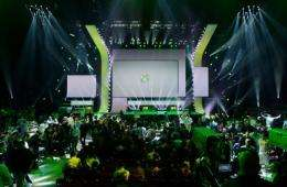 Attendees leave the Microsoft Xbox press conference at the Electronic Entertainment Expo