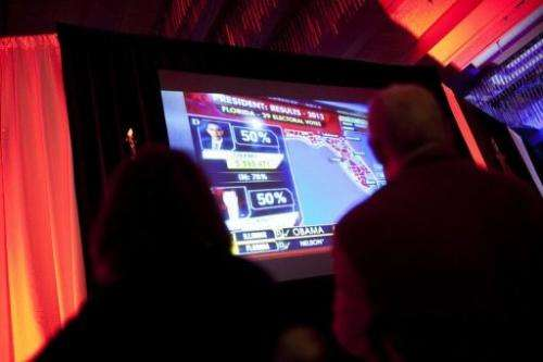 Attendees react to election results at a reception sponsored by the Republican Party of Florida