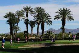 A view of an LPGA event at the Mission Hills Country Club in Palm Springs