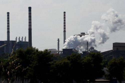 A view of the ILVA plant in the southern Italian city of Taranto