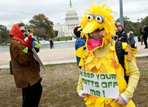 "A woman wearing a costume of Big Bird holds a sign in support of public broadcasting during the ""Million Puppet March"""