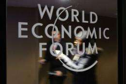 A World Economic Forum (WEF) logo is seen at the Congress Center in Davos