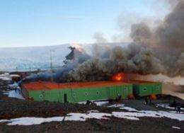 Brazilian base Comandante Ferraz burns in Antarctica in February 2012