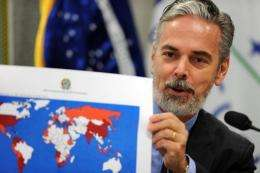 Brazilian Foreign minister Antonio Patriota shows a map as he speaks during a hearing on Rio+20 Summit on May 10