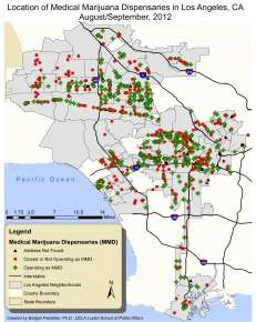 Charting locations of marijuana dispensaries in L.A.