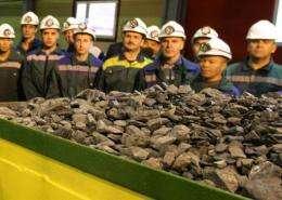 Chunks of uncut diamonds at a diamond mine in Siberia in 2009