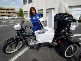 Despite the motorcycle using animal waste rather than human, it is still equipped with a toilet seat