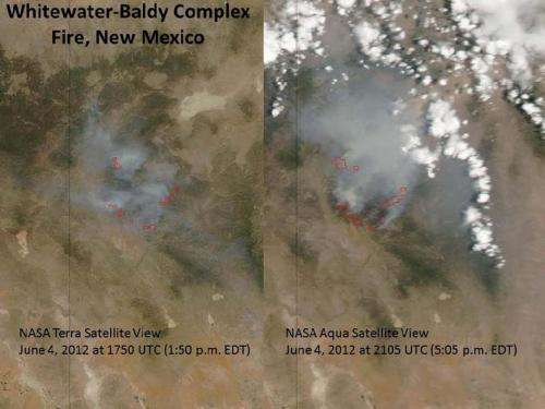 Double-Satellite view of Whitewater-Baldy complex fire