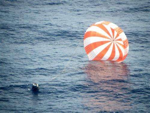 Dragon ship back on Earth after space station trip