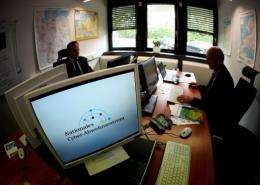 Employees at work in a cybersecurity centre in Bonn, Germany